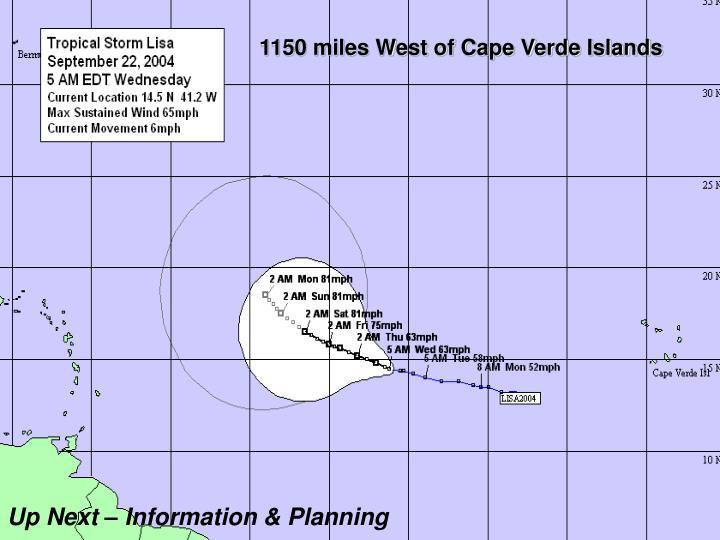 1150 miles West of Cape Verde Islands