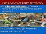 major events of adams presidency1