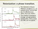 reionization a phase transition