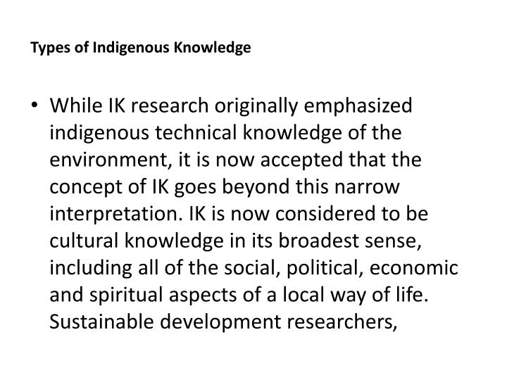 types of indigenous research