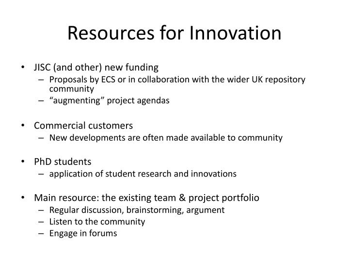 Resources for Innovation