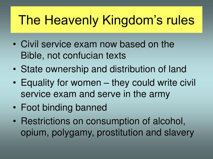 The Heavenly Kingdom's rules