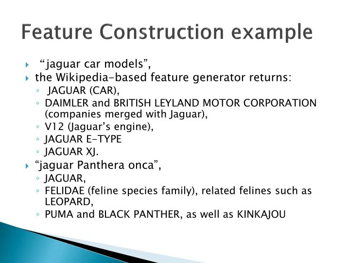 Feature Construction example