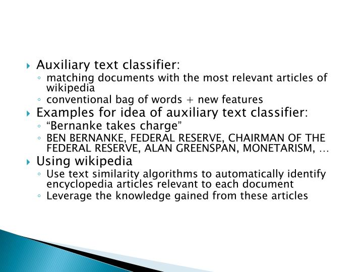 Auxiliary text classifier: