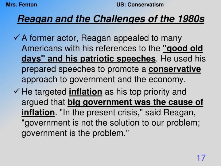 Reagan and the Challenges of the 1980s