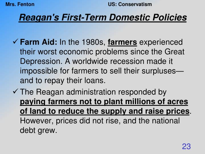 Reagan's First-Term Domestic Policies