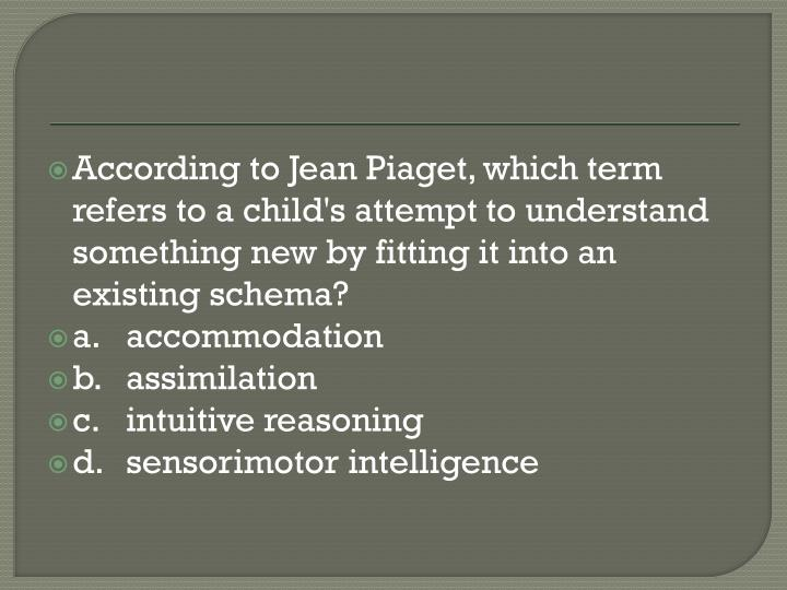 According to Jean Piaget, which term refers to a child's attempt to understand something new by fitting it into an existing schema?