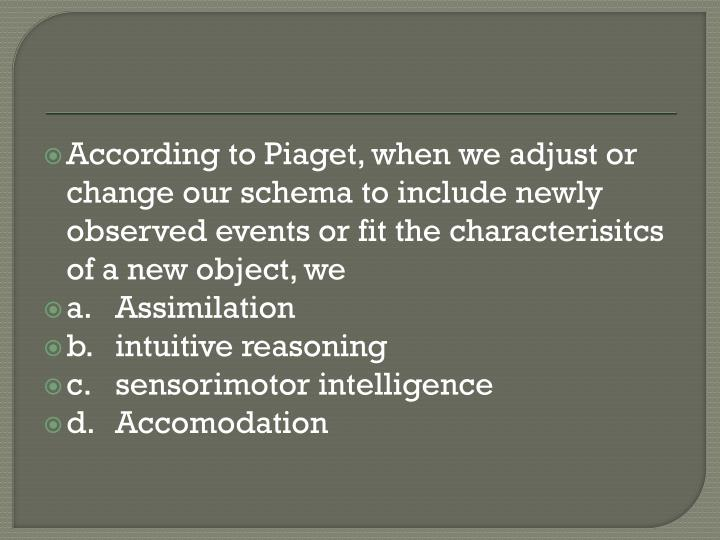 According to Piaget, when we adjust or change our schema to include newly observed events or fit the characterisitcs of a new object, we