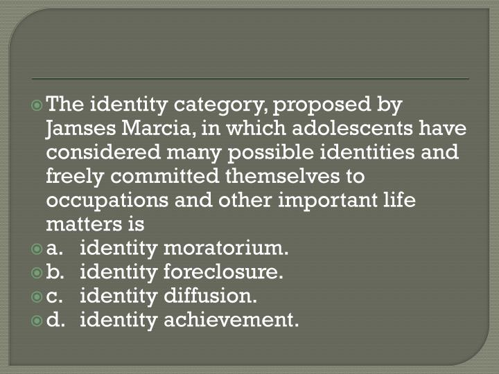The identity category, proposed by