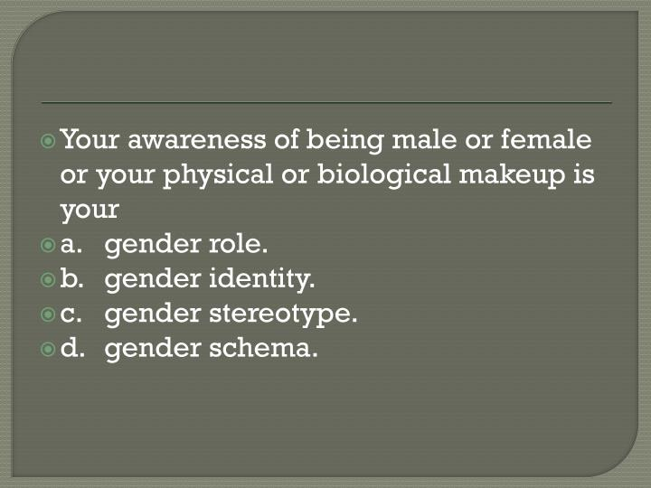 Your awareness of being male or female or your physical or biological makeup is your