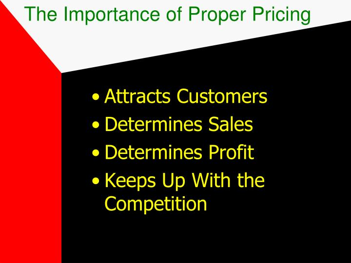 The Importance of Proper Pricing