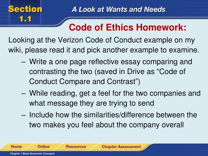 Code of Ethics Homework: