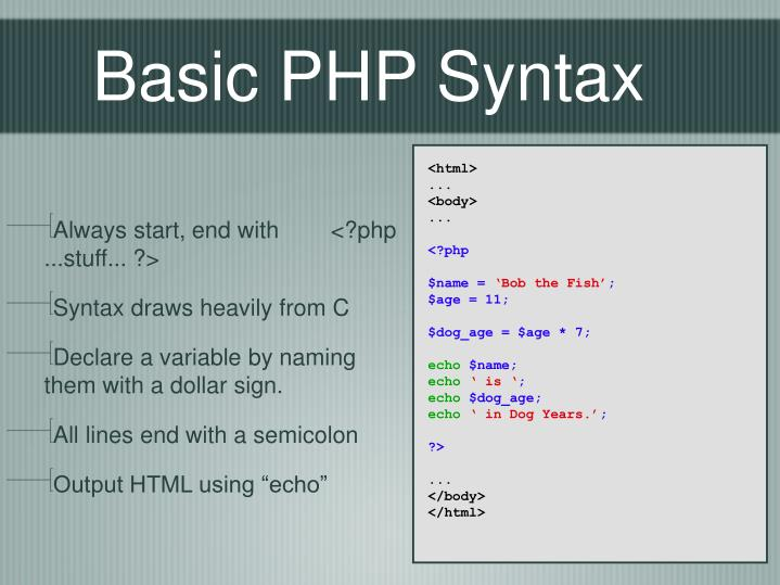 Basic PHP Syntax