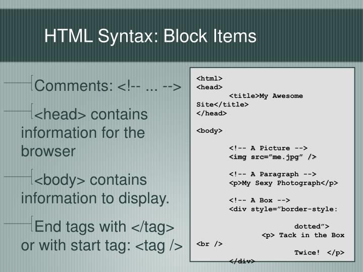 HTML Syntax: Block Items