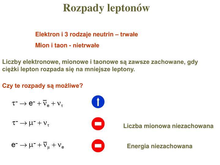 Rozpady leptonów