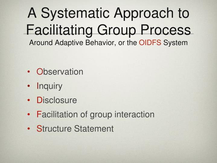 A Systematic Approach to Facilitating Group Process