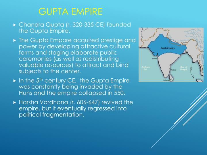 Chandra Gupta (r. 320-335 CE) founded the Gupta Empire.