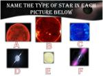 name the type of star in each picture below