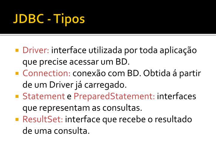JDBC - Tipos