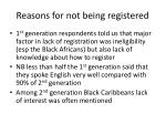 reasons for not being registered
