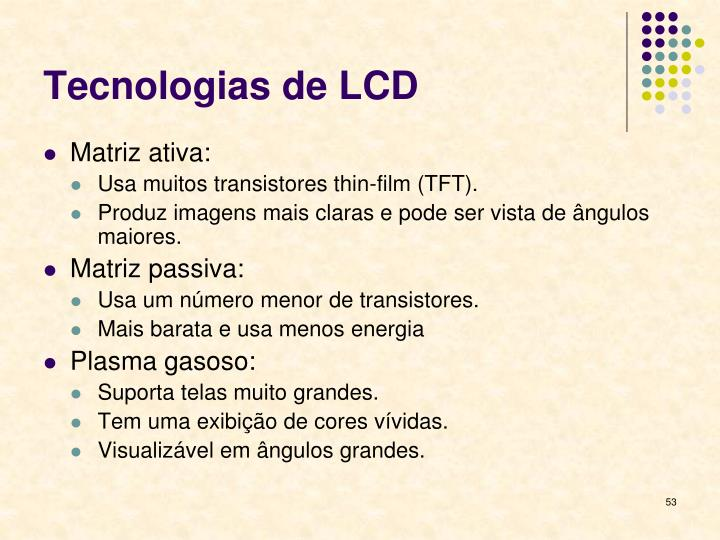 Tecnologias de LCD