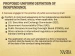 proposed uniform definition of independence11