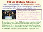 csc via strategic alliances