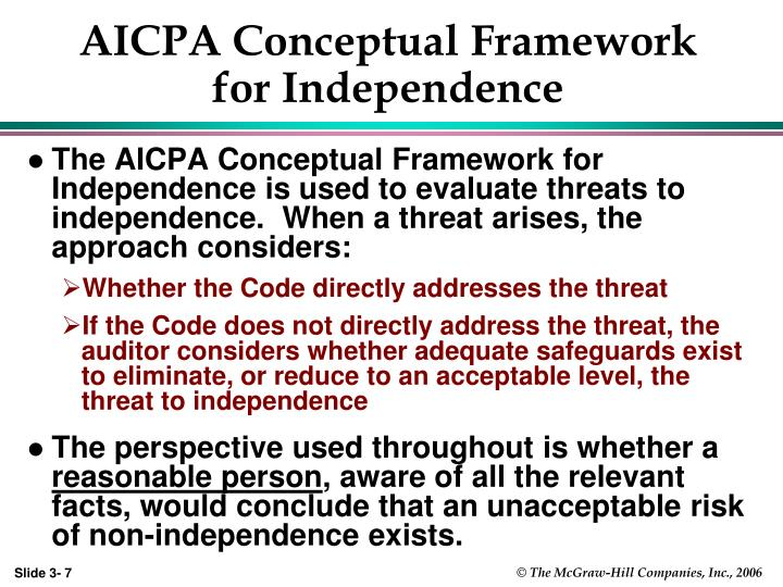 AICPA Conceptual Framework for Independence