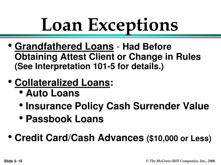 Loan Exceptions