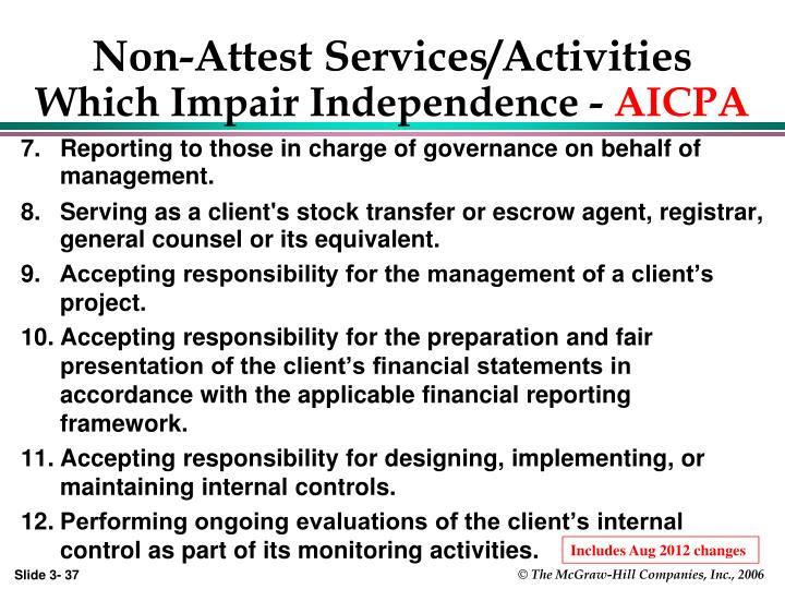 Non-Attest Services/Activities