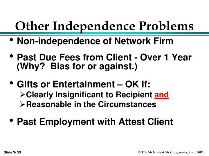 Other Independence Problems