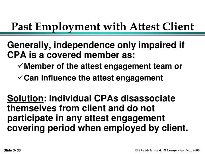 Past Employment with Attest Client