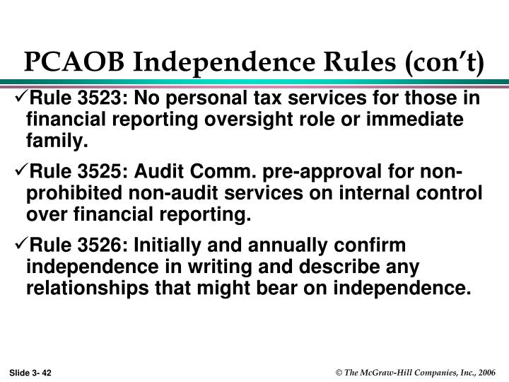 PCAOB Independence Rules (con't)