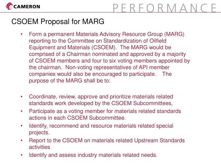 Csoem proposal for marg