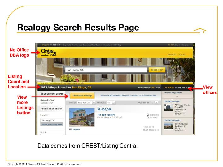 Realogy Search Results Page