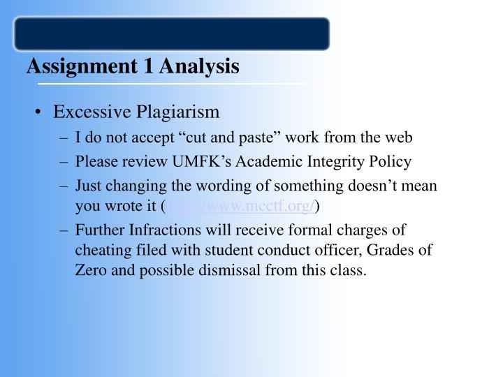 Assignment 1 analysis