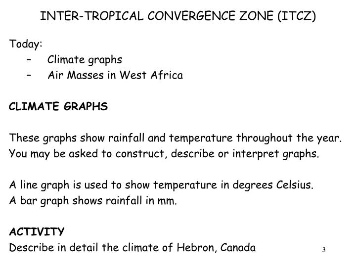 Inter tropical convergence zone itcz