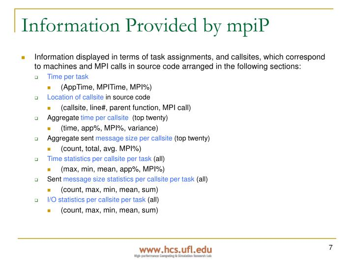 Information Provided by mpiP