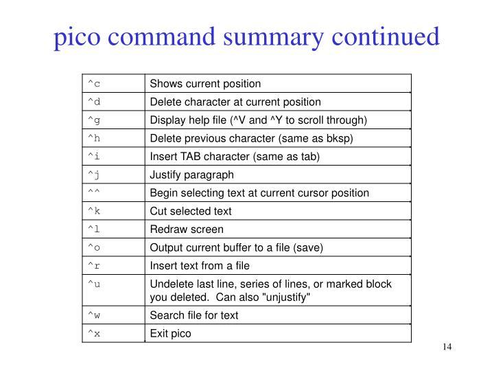 pico command summary continued