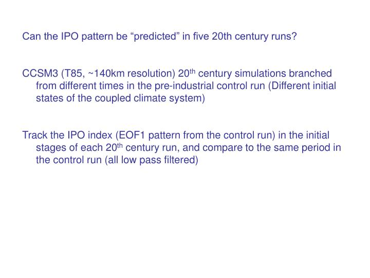 """Can the IPO pattern be """"predicted"""" in five 20th century runs?"""