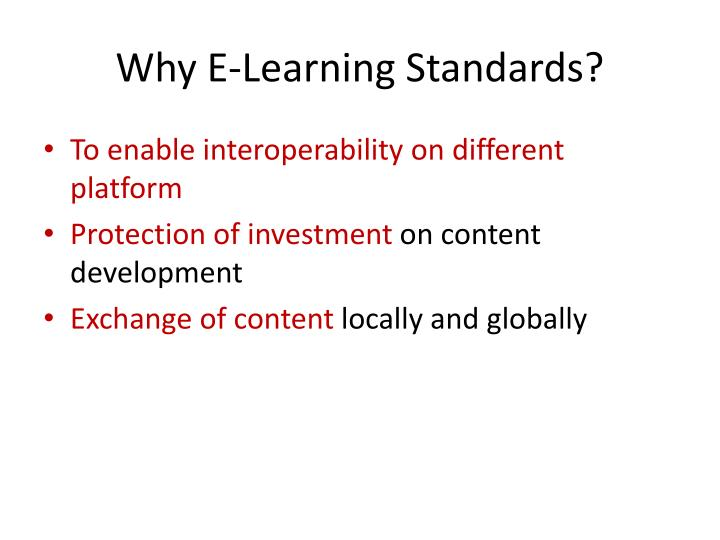 why e learning standards n.