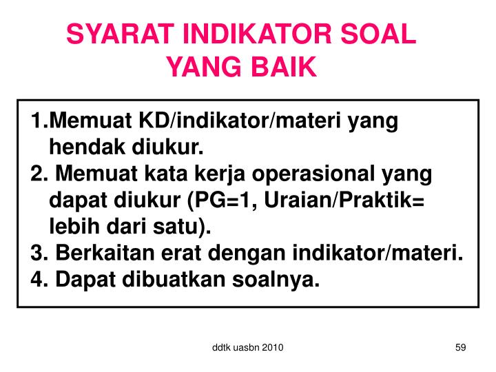 SYARAT INDIKATOR SOAL