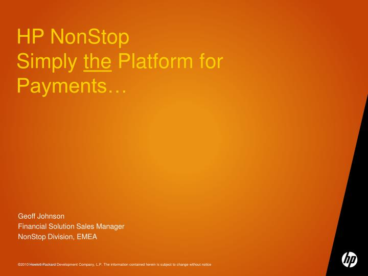Hp nonstop simply the platform for payments