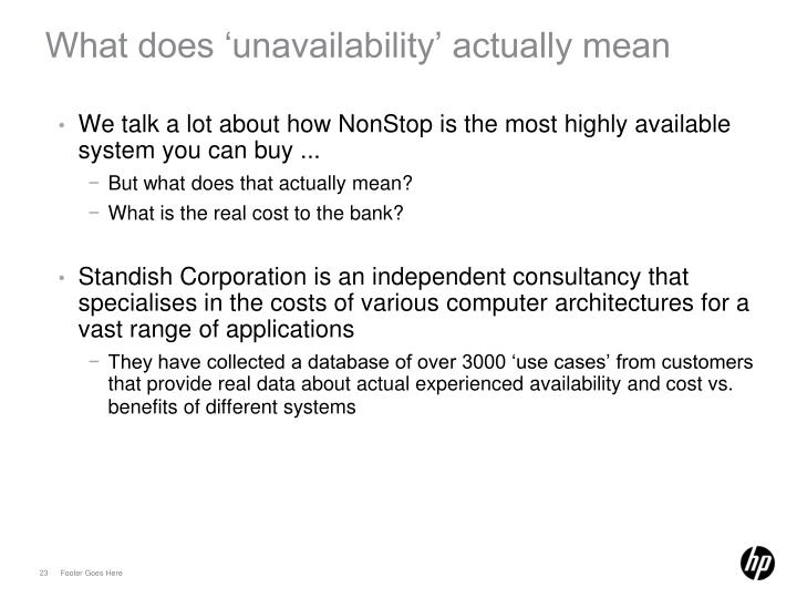 What does 'unavailability' actually mean