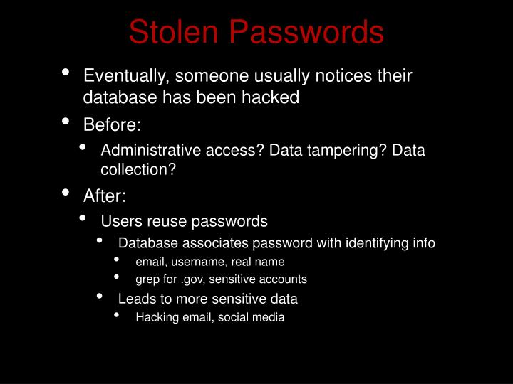 Stolen Passwords