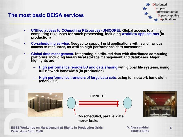 The most basic DEISA services