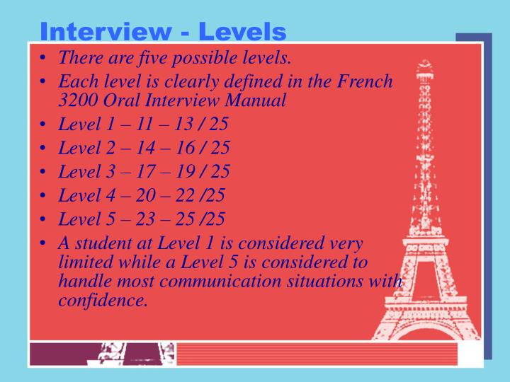 Interview - Levels