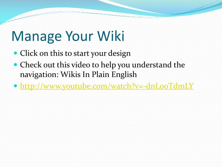 Manage your wiki