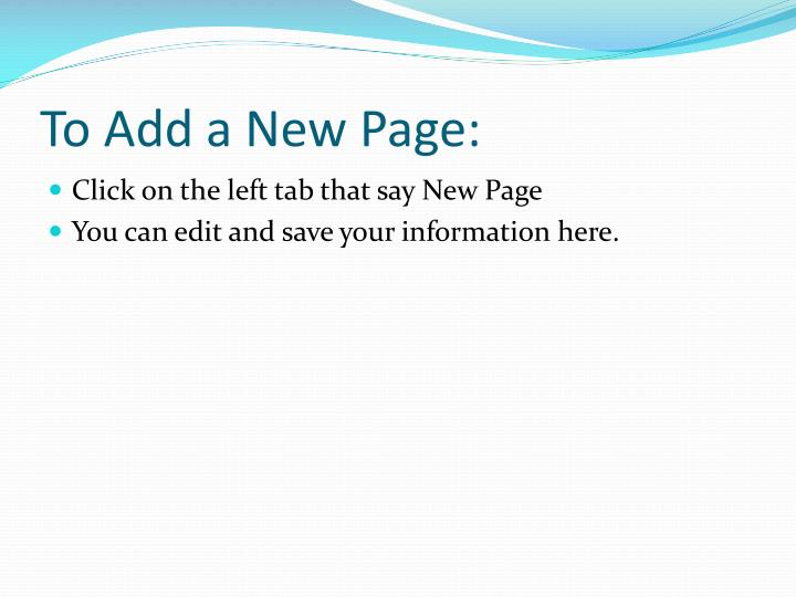 To Add a New Page: