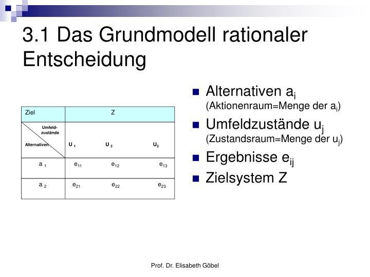 3 1 das grundmodell rationaler entscheidung